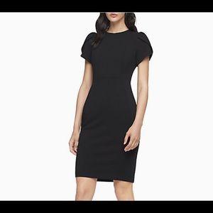 Calvin Klein Navy TULIP SLEEVE SHEATH DRESS